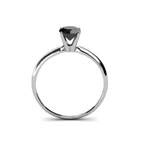 Black Diamond Solitaire Ring 1.00 ct in 14K Gold