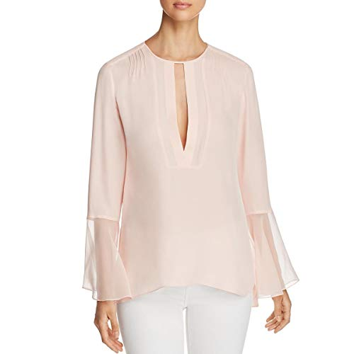 Elie Tahari Womens Owen Tulip Sleeves Pleated Blouse Pink S - Elie Tahari Women Shirts