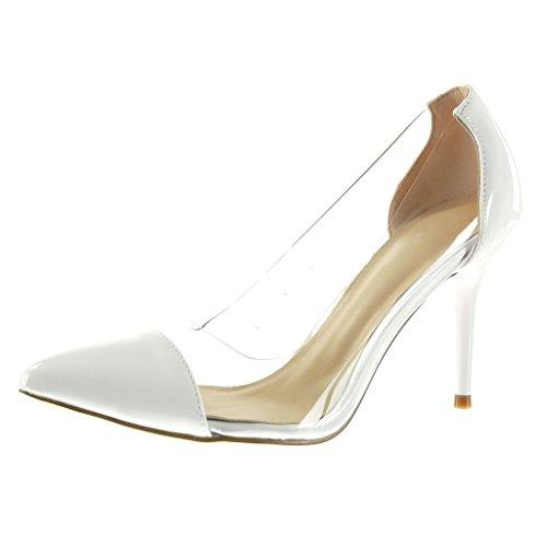 Angkorly - Chaussure Mode Escarpin stiletto sexy femme brillant transparent Talon haut aiguille 10 CM - Blanc