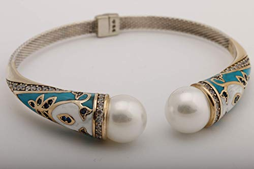 Authentic Style Turkish Handmade Jewelry Round Shape White Pearl Turquoise White Enamel and Round Cut Sapphire Topaz 925 Sterling Silver Cuff Bangle -
