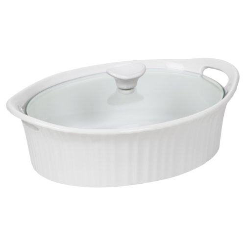 Corningware 1105935 French White III Oval Casserole with Glass Cover, 2.5-Quart