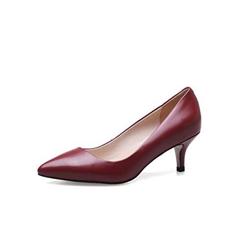 Yukun zapatos de tacón alto Zapatos Solos De Otoño E Invierno Zapatos De Trabajo Profesionales De Aguja En Punta Dentro Y Fuera De La Piel Entera Un Pie Bajo Ayuda Red Wine
