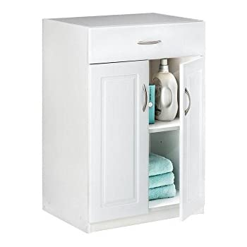24 In. Freestanding Raised Panel Base Cabinet With 1 Drawer And 2 Door,  White