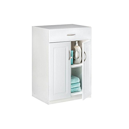 24 in. Freestanding Raised Panel Base Cabinet with 1-Drawer and 2-Door, White - 2 Door Storage Base Cabinet