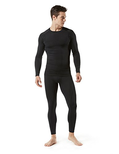 Large Product Image of Tesla Men's Long Sleeve T-Shirt Baselayer Cool Dry Compression Top MUD11 / MUD01