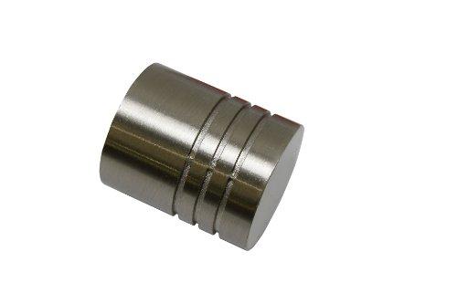 Gardinia 10011168 Endknopf/Endstück Zylinder für Gardinenstangen, Serie Chicago, Durchmesser 20 mm, edelstahloptik