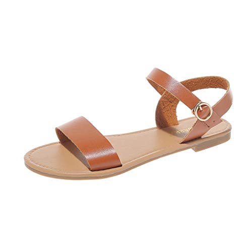 Casual Flat Sandals for Women, Huazi2 Summer Cute Open Toes One Band Ankle Strap Flexible Shoes Brown (Iron Fist Flats Size 7)