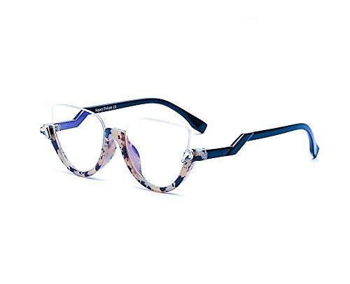 Bursts of half-frame retro sunglasses fashion sunglasses Korean trend of sunglasses (Transparent color, - Trend Korean Sunglasses