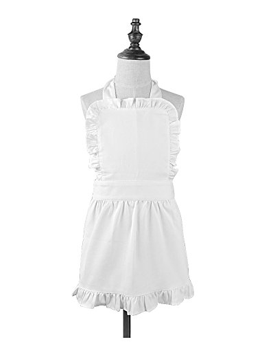 Love Potato Pure Cotton White Apron Children Cooking Apron Princess Ruffle Apron for Kids 3-6 Years Old