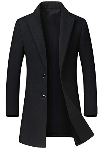 chouyatou Men's Mid-Length Single Breasted Wool Blend Top Coat (Large, Black)