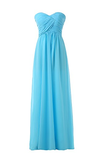 Women's Bridesmaid Dresses Long Sweetheart Prom Gowns Chiffon Strapless(M,Blue)