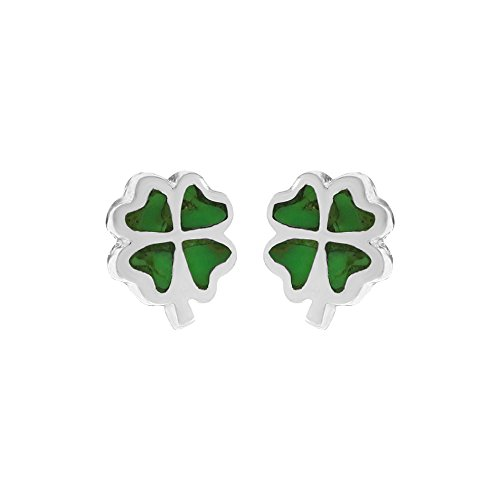 Boma Jewelry Sterling Silver Green Turquoise Four Leaf Clover Stud Post Earrings - Lucky Turquoise Earrings