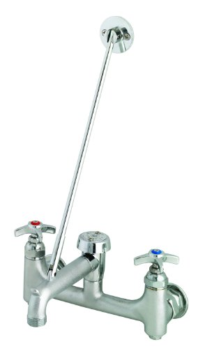 T&S Brass B-2492 Service Sink Faucet, Vac. Breaker, Hose Outlet, 4-Arm Handles, Built-In ()