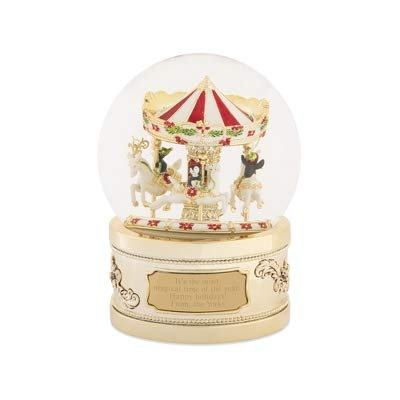 - Things Remembered Personalized Gold Penguin Carousel Musical Snow Globe with Engraving Included