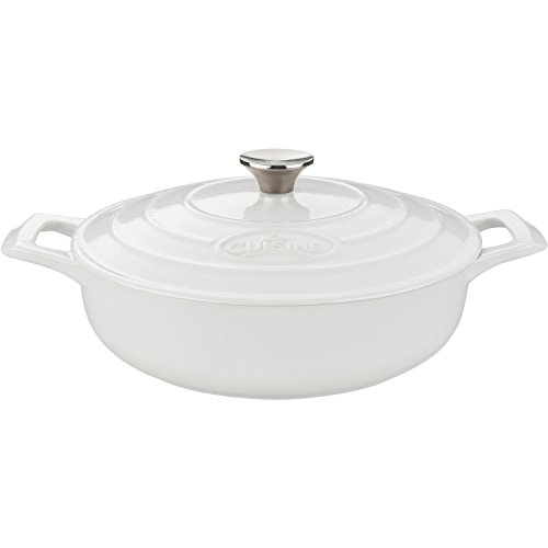 White Oval Covered Casserole (La Cuisine Saute  3.75 Qt Enameled Cast Iron Covered Dutch Oven, White)