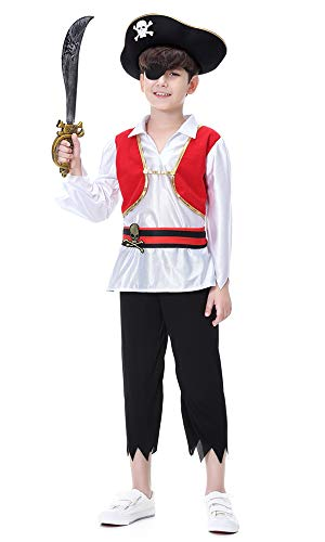 Hsctek Boys Pirate Costume, Kids Pirate Role Play Dress-up set With Hat, Sword, and Eye Patch, -