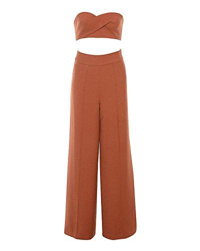 Whoinshop High Waist Wide Leg Two Pieces Bustier Trousers Set Party Pants (XS, Orange)