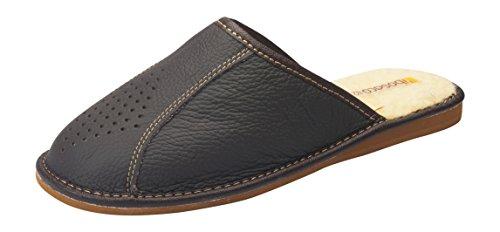 Bosaco Mens Confort Cuir Naturel / 100% Laine De Mouton Glisser Sur Chaussons Maison Chaussures Marron