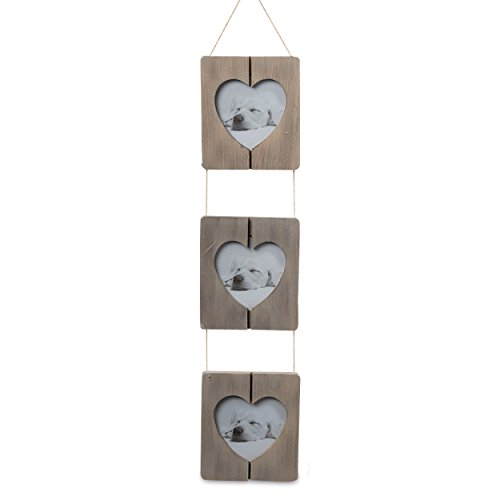 The Farmer's Market Trio of Heart Photo Frames, Shiplap, Natural Twine, Rustic Gray Pine Wood, Crafted By Hand, 4 3/4 Wide, 20 Inches Long, By Whole House Worlds (Shiplap Hanging)