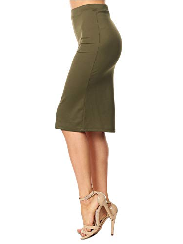 MixMatchy Women's [Made in USA] Waist Band Midi Stretchy Pencil Skirt Olive L