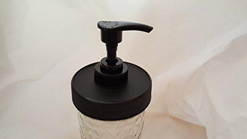 1 Black Matte Plastic Lid with Liner & Pump - Regular/Standard Mason Jar Lotion/Soap dispenser Lid