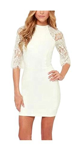Lace Sleeve Dress Half Fashion Tasseled Bodycon Women's CA White RSFZ77