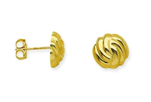 Earring Chest 14K Yellow Gold Flattened Hollow Fan Wave Button Design Post - Earring Design Gold 14k Wave