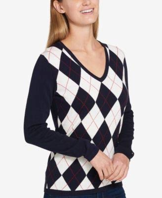 Tommy Hilfiger Womens Knit Argyle Pullover Sweater