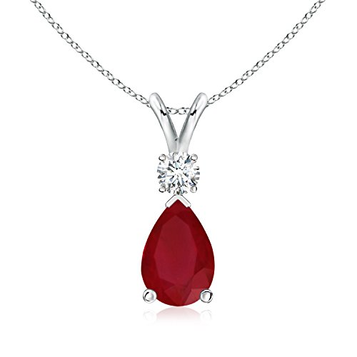 Pear Ruby Teardrop Pendant Necklace for Women with Diamond in 14K White Gold (6x4mm - Diamond Ruby Aa Pendant 14k