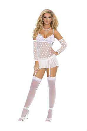 Elegant Moments Women's Mesh Baby Doll With Cups and Matching G-String., White, Small