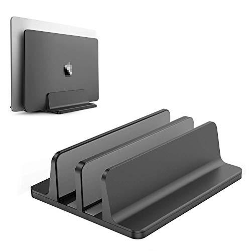 1Pcs Double Desktop Stand Holder Vertical Laptop Stand with Adjustable Dock Black