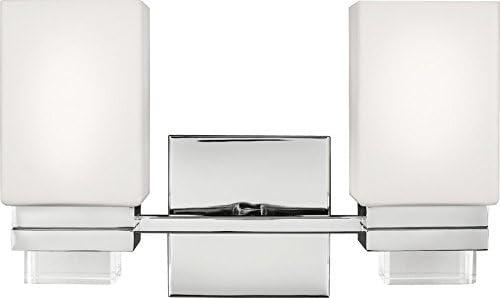 Feiss VS20602PN Maddison Glass Wall Sconce Lighting, Chrome, 2-Light 14 W x 9 H 150watts