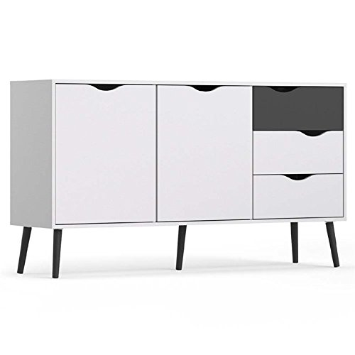Tvilum 7538149gm Diana Sideboard with 2 Doors and 3 Drawers, White/Black - 3 Drawer Large Sideboard