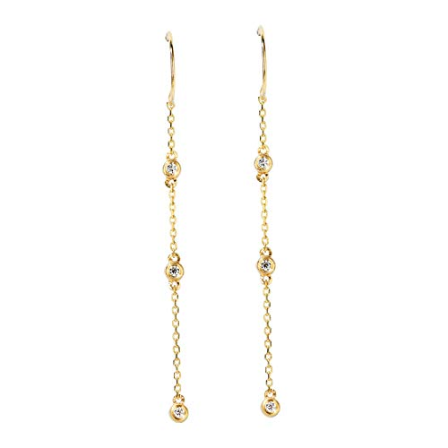 Unique Small earring with 18k gold and diamond thread birthday gift present stud earrings for women