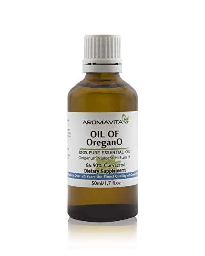 Aromavita Essential Oil of Oregano - 100% Pure Undiluted, Non GMO, Extra Strength Greek Oregano Oil - Over 86% Carvacrol Oregano Extract Liquid Nutritional Supplement (1.7 FL.OZ/50ML) (Best Oregano Oil Supplement)