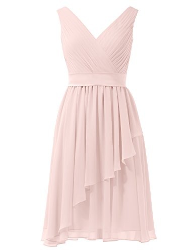 Pink Chiffon Alicepub V Dress neck Pearl Prom Short Bridesmaid Bridal Sleeveless Dress Party B7Efqgw7S