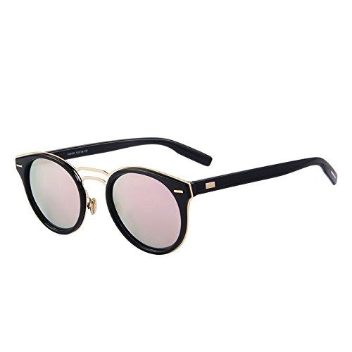 Bridge hombre gafas de Oval C01 Retro sol C02 polarizado tonos Classic mujer Double TIANLIANG04 Negro Pink TzxRn