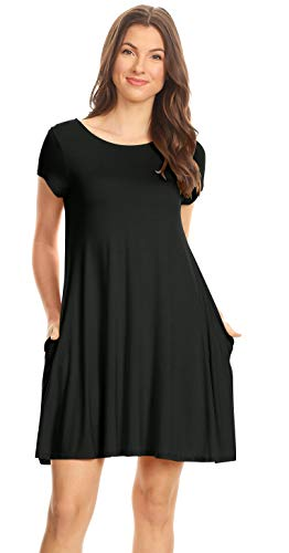 Simlu Womens Black Tunic Dress with Short Sleeves, Tshirt Dress with Pockets Black Large