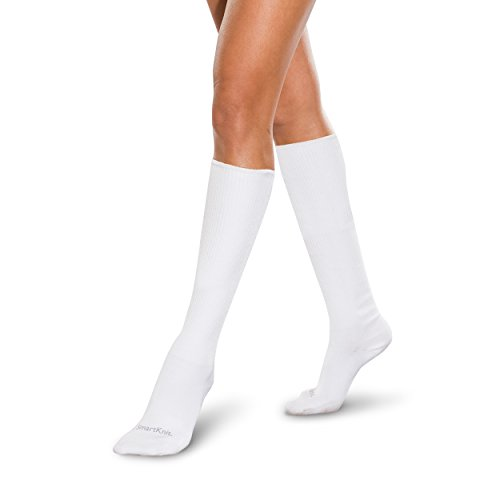 SmartKnit Seamless Over-the-Calf Socks for Diabetes, Arthritis or Sensitive Feet (White, ()