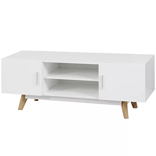Festnight Modern TV Stand Media Console Table with 2 Cabinet and 2 Open Shelves Storage High Gloss Television Stand with Side Doors Entertainment Center White Living Room Home Office Furniture