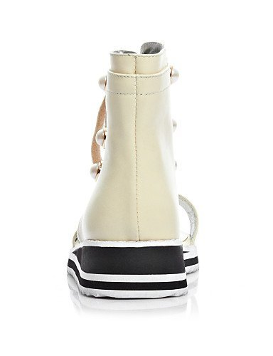 Open Wedge Casual Almond Wedges Womens Shoes Toe White White Heel Cowhide Sandals ShangYi Bootie Tgq0wU