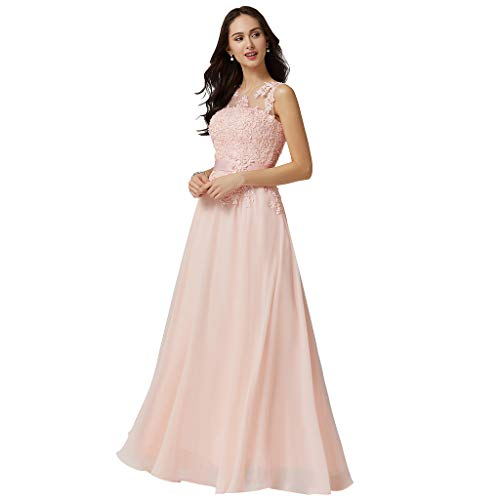 LightInTheBox A-Line Jewel Neck Floor Length Georgette/Beaded Lace Prom Formal Evening Dress