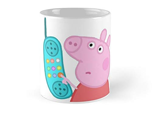 Blade South Mug - Peppa Pig Hanging Up Sticker Mug - 11oz Mug - Features wraparound prints - Best gift for family friends -