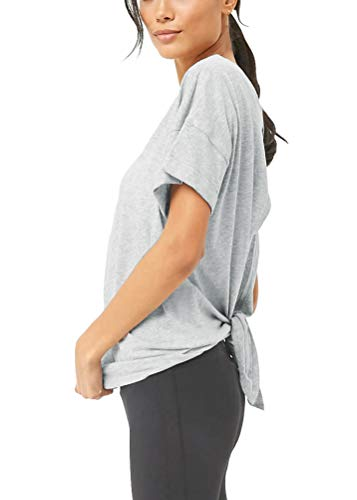 Mippo Women's Sexy Backless Yoga Shirts Short Sleeve Boat Neck Top Loose Casual Tee Open Back Workout Tank Top Active Tops for Juniors Heather Gray L ()