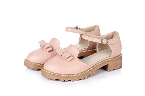 BalaMasa Womens Buckle Square Heels Round-Toe Urethane Pumps Shoes Pink LQ71AGj