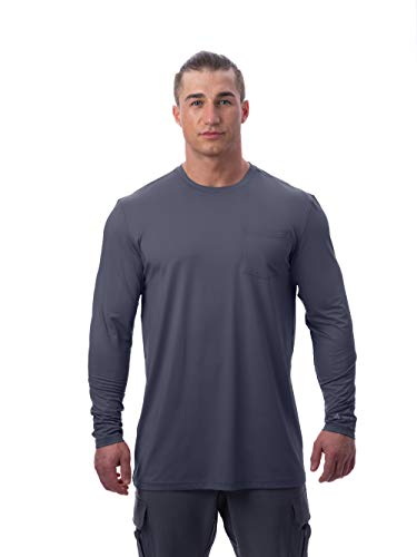 Arctic Cool Men's Instant Cooling Long Sleeve Pocket Workwear Shirt Performance Tech Breathable UPF 50+ Sun Protection Moisture Wicking Comfortable Work Quick Drying Top, Storm Grey, XXXL