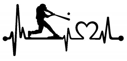 Bluegrass Decals K1075 Baseball Guy Batter Batting Heartbeat Lifeline Decal Sticker (Black)