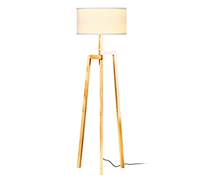 Brightech New Mia LED Tripod Floor Lamp– Modern Design Wood Mid Century Style Lighting for Contemporary Living or Family Rooms- Ambient Light Tall Standing Survey Lamp for Bedroom, Office- White Shade