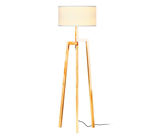 - Brightech New Mia LED Tripod Floor Lamp– Modern Design Wood Mid Century Style Lighting for Contemporary Living or Family Rooms- Ambient Light Tall Standing Survey Lamp for Bedroom, Office- White Shade