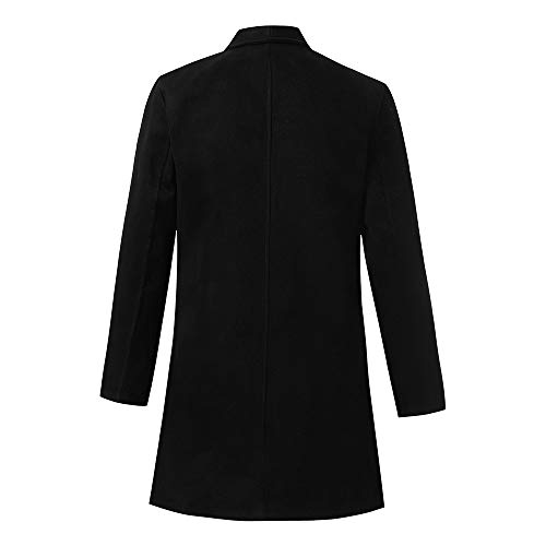 Toimothcn Mens Solid Slim Fit Open Trench Coat Jacket Long Sleeve Lapel Pea Coat (Black,XXL)